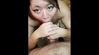 Asian GF Sweet Blowjob While Cooking