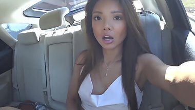 Asian Public Flashing and Masturbation in TAXI