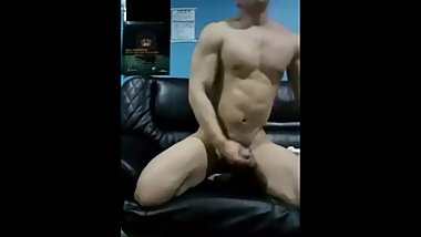 Korean bodybuilder jerking off 2