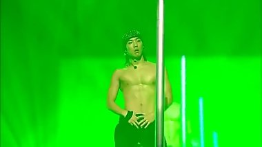 sexy korean twink exposes abs while using strip pole