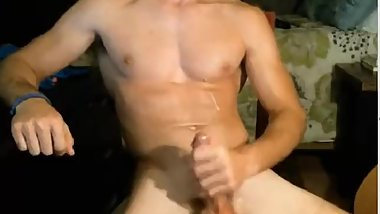 My Boyfriends horny and jerks his cock