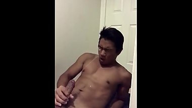 Asian Teen Marshall Cums in Own Mouth