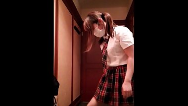 Pigtails girl ballbusting