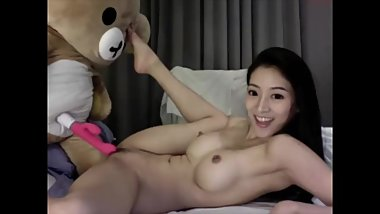 horny asian camgirl fuck a teddy bear