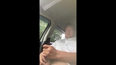 Korean Daddy Jerks Off in His Car