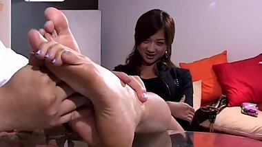 Chinese girl's soles playful tickling (blue toes)