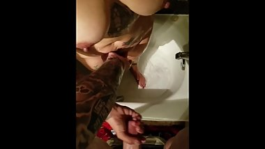 Wife naked in shower having orgasm