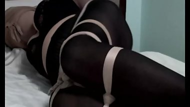 Korean Couple Pantyhose Bondage