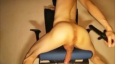 Hot Korean Strokes His Cock and Works His Hole on Webcam