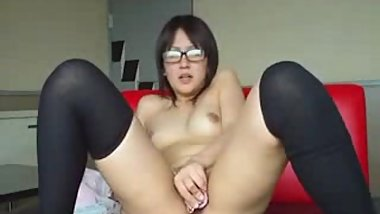 Hot Korean Teen With Glasses Toying Her Hairy Pussy