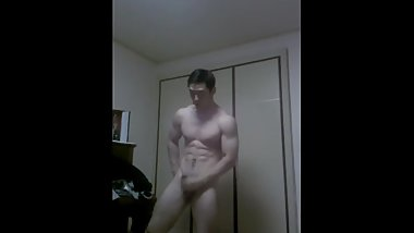 Korean Bodybuilder Stroke His Cock Hard