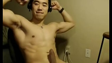 Asian Muscle Hunk Jerks Off and Moans